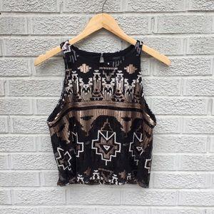 Bobi Black Sequin Crop Tank & Mini Skirt Outfit